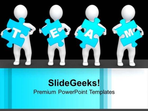 3d Men Holding Blue Team Puzzle Pieces Business PowerPoint Templates Ppt Backgrounds For Slides 1212