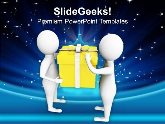 3d Men Holding Gift PowerPoint Templates Ppt Backgrounds For Slides 0713