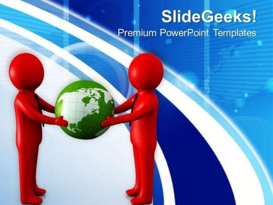 3d Men Holding Globe PowerPoint Templates Ppt Backgrounds For Slides 0713