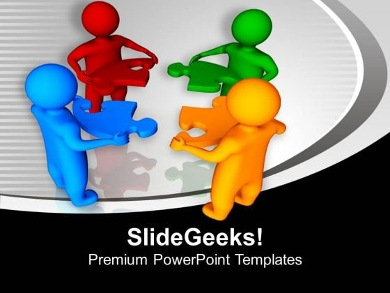 3d Men Holding Puzzle Pieces Solution PowerPoint Templates Ppt Backgrounds For Slides 0113