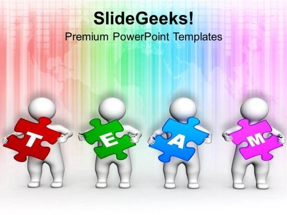 3d Men Holding Team Puzzle Teamwork PowerPoint Templates Ppt Backgrounds For Slides 1212