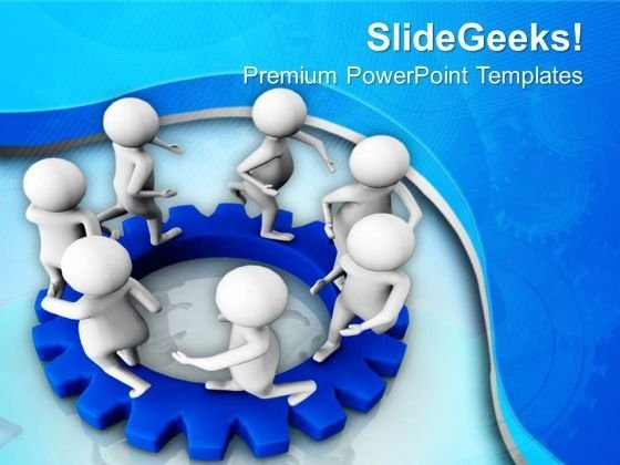 3d Men In Circle On Gears PowerPoint Templates Ppt Backgrounds For Slides 0713