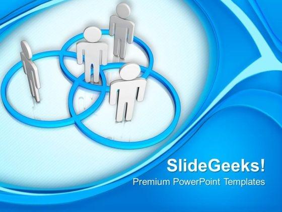 3d Men Standing In Venn Diagram PowerPoint Templates Ppt Backgrounds For Slides 0213