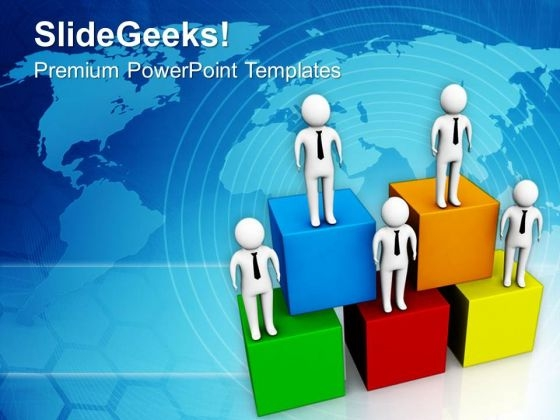 3d Men Standing On Cubes PowerPoint Templates Ppt Backgrounds For Slides 0713