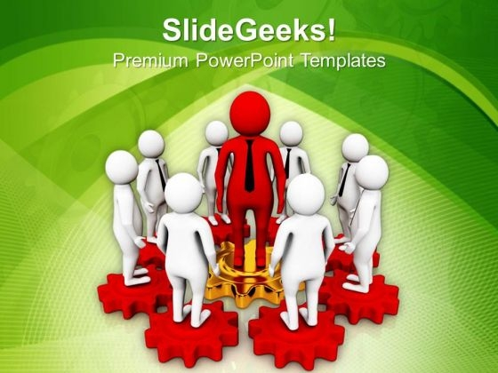 3d Men Standing On Gears PowerPoint Templates Ppt Backgrounds For Slides 0813