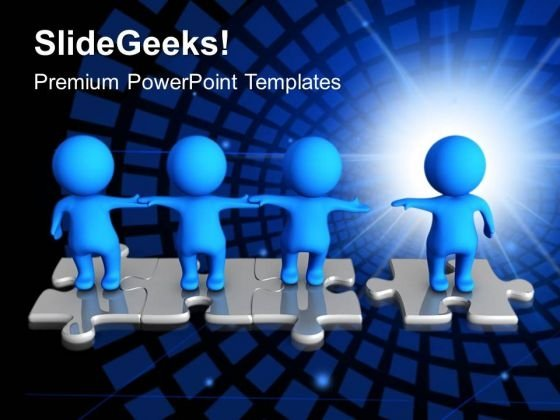 3d Men Standing On Puzzles Teamwork PowerPoint Templates And PowerPoint Themes 1012