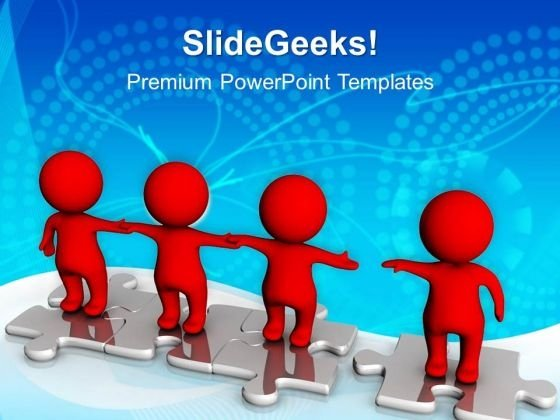 3d Men Standing Together On Puzzle PowerPoint Templates And PowerPoint Themes 0912