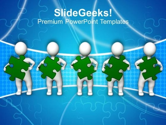 3d Men With Green Puzzle Teamwork PowerPoint Templates Ppt Backgrounds For Slides 1212