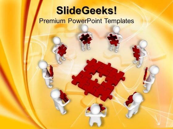 3d Men With Red Puzzles PowerPoint Templates And PowerPoint Themes 0912