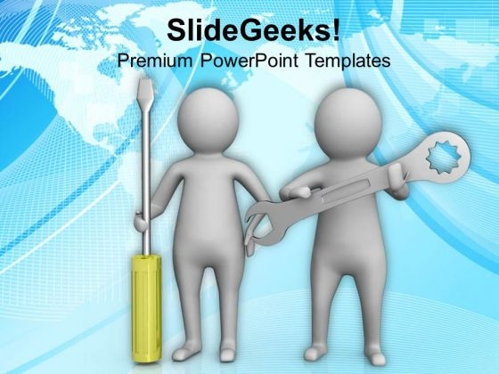 3d Men With Screw Driver And Wrench PowerPoint Templates Ppt Backgrounds For Slides 0813