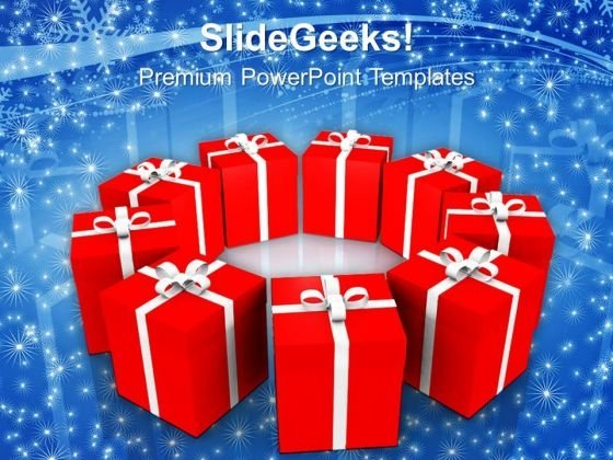 3d Packed Gifts In Circle Festival PowerPoint Templates Ppt Backgrounds For Slides 1112