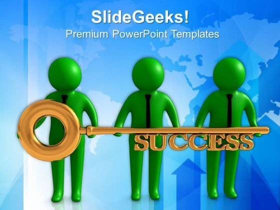 3d People Holding Golden Key PowerPoint Templates Ppt Backgrounds For Slides 0713
