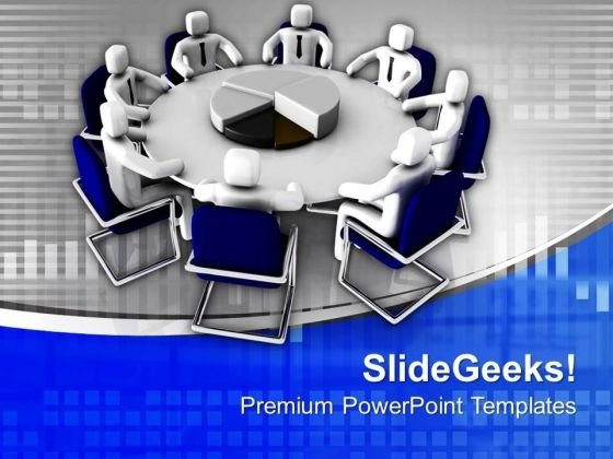 3d People In Meeting With Pie Chart PowerPoint Templates Ppt Backgrounds For Slides 0713
