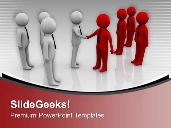 3d People Two Teams Shaking Hands PowerPoint Templates Ppt Backgrounds For Slides 0213
