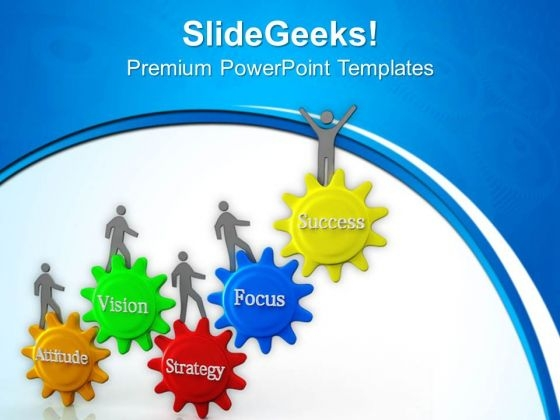 3d People Walking On Success Gears PowerPoint Templates Ppt Backgrounds For Slides 0813