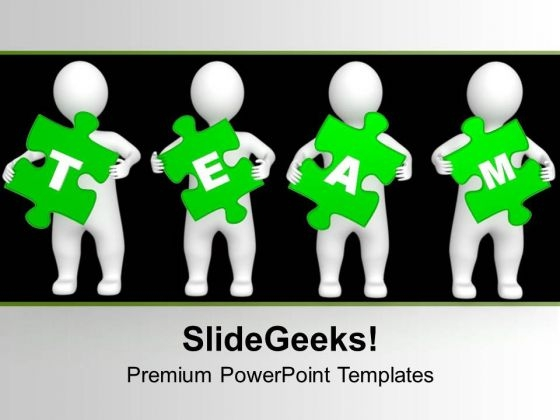 3d Persons Green Puzzle Pieces Team PowerPoint Templates Ppt Backgrounds For Slides 0213