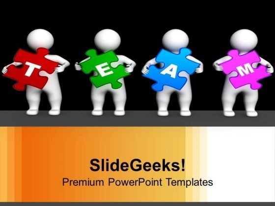 3d Persons Holding Puzzle Pieces Team PowerPoint Templates Ppt Backgrounds For Slides 0113