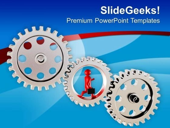 3d Render Of A Man Running On Gears PowerPoint Templates Ppt Backgrounds For Slides 0713