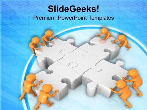 3d Render Of Men Solving Puzzle PowerPoint Templates Ppt Backgrounds For Slides 0813