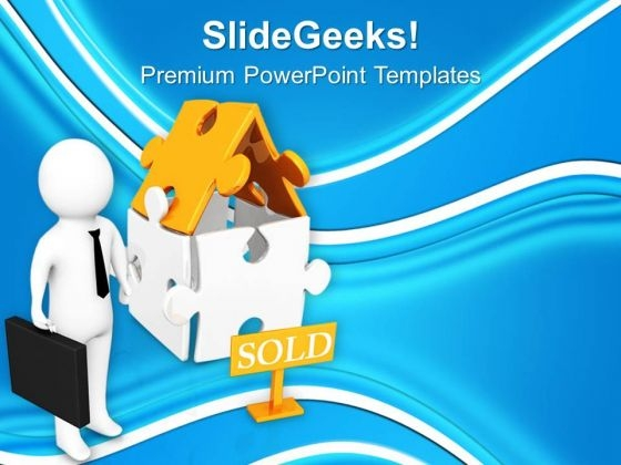 3d Render Of Sold House PowerPoint Templates Ppt Backgrounds For Slides 0713