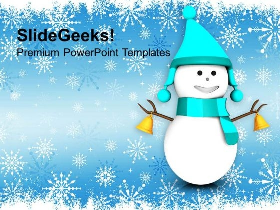 3d Snowman On Christmas Background PowerPoint Templates Ppt Backgrounds For Slides 1212