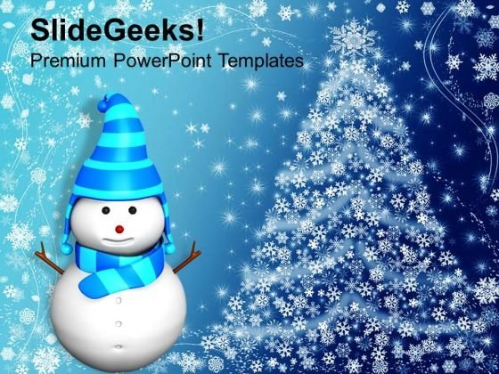 3d Snowman With Abstract Background PowerPoint Templates Ppt Backgrounds For Slides 1112
