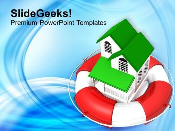 3d Sweet House In Lifeguard Real Estate Rescue PowerPoint Templates Ppt Backgrounds For Slides 0113