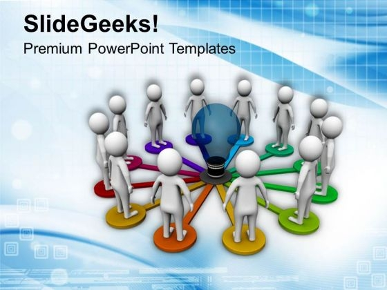 3d Team Linked To An Idea PowerPoint Templates Ppt Backgrounds For Slides 0713