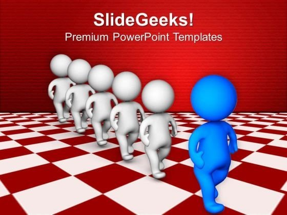 3d Team Walking With Leader PowerPoint Templates Ppt Backgrounds For Slides 0713