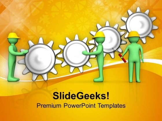 3d Workers Team Adjusting Gears PowerPoint Templates Ppt Backgrounds For Slides 0813
