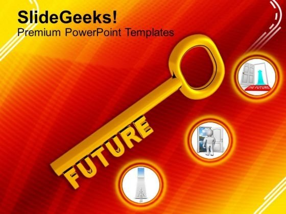 A Gold Key With The Word Future PowerPoint Templates Ppt Backgrounds For Slides 0113