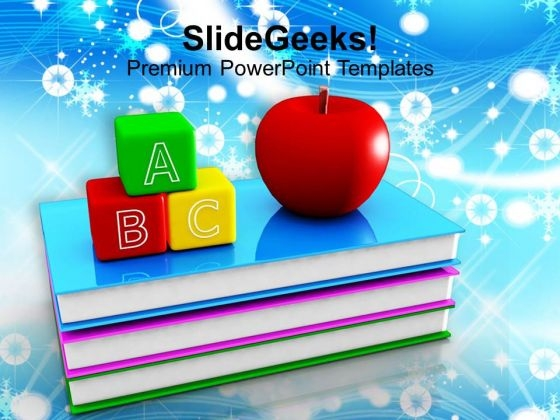 Abc Blocks And Red Apple On Books Education PowerPoint Templates Ppt Backgrounds For Slides 1212