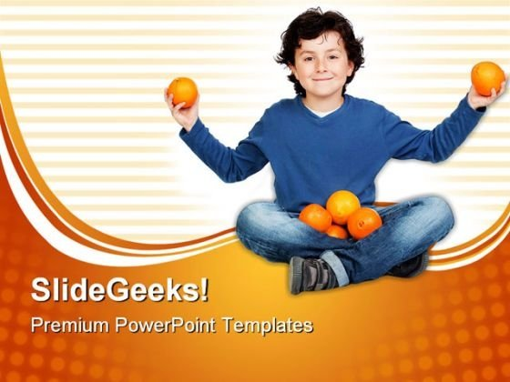 Adorable Child With Many Oranges Food PowerPoint Themes And PowerPoint Slides 0411