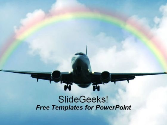 Dream Airliner PowerPoint Template with Rainbow