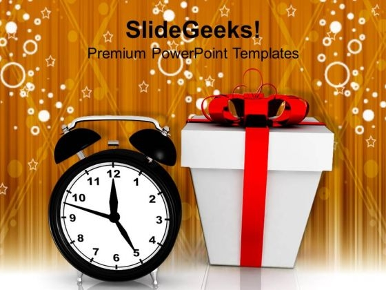 Alarm Clock And Gift Box Christmas Festival PowerPoint Templates And PowerPoint Themes 1112