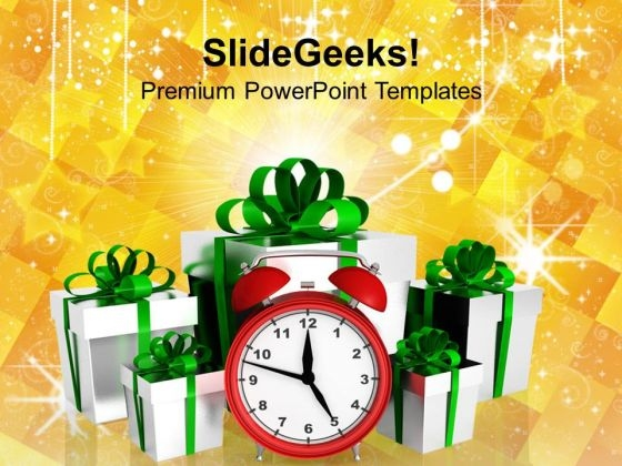 Alarm Clock With Christmas Gifts Events PowerPoint Templates Ppt Backgrounds For Slides 1112