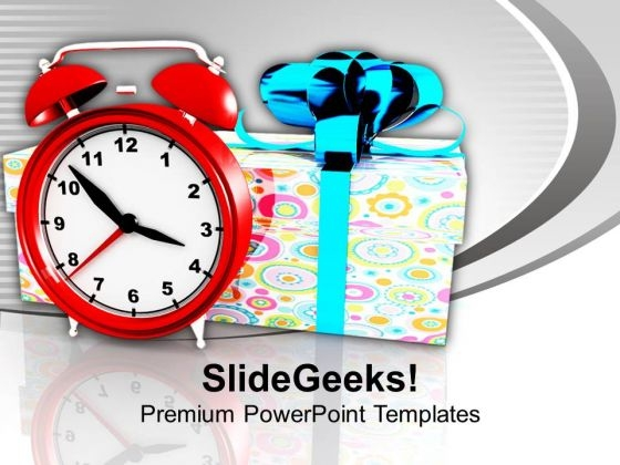 Alarm Clock With Gift Box Celebration PowerPoint Templates Ppt Backgrounds For Slides 1212