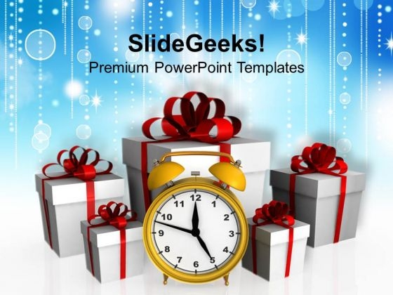 Alarm Clock With Gift Boxes Festival PowerPoint Templates And PowerPoint Themes 1112