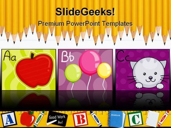Alphabets Education PowerPoint Template 0610