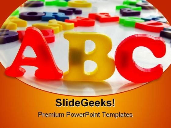 Alphabets Education PowerPoint Template 0810