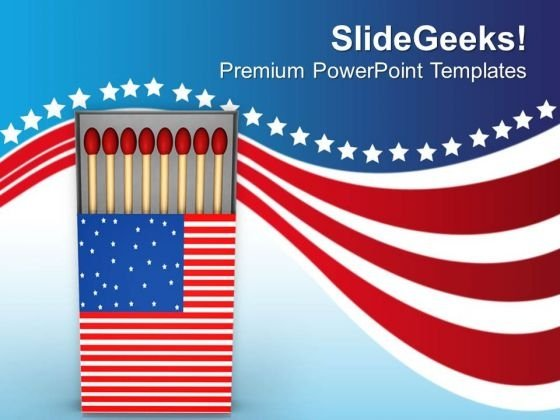 american flag matchbox powerpoint templates ppt backgrounds for