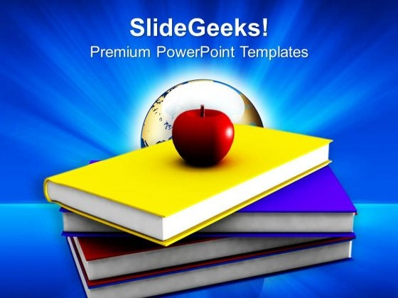 An Apple With Books PowerPoint Templates Ppt Backgrounds For Slides 0213