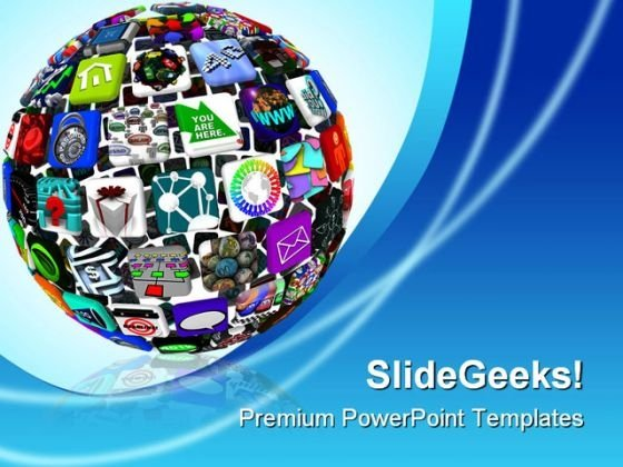 App Icons In A Sphere Communication PowerPoint Backgrounds And Templates 1210