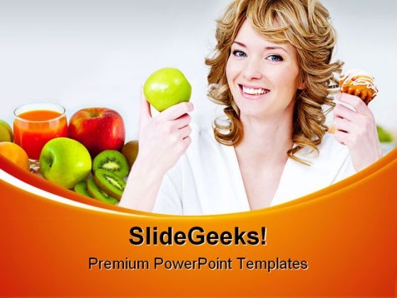 Apple And Cake Choices Health PowerPoint Themes And PowerPoint Slides 0411