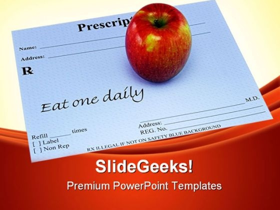 Apple On A Prescription Health PowerPoint Themes And PowerPoint Slides 0311