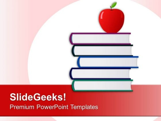 Apple With Stack Of Books Education PowerPoint Templates Ppt Backgrounds For Slides 0213