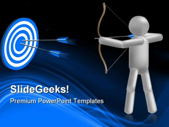 Archery With Target Success PowerPoint Themes And PowerPoint Slides 0511