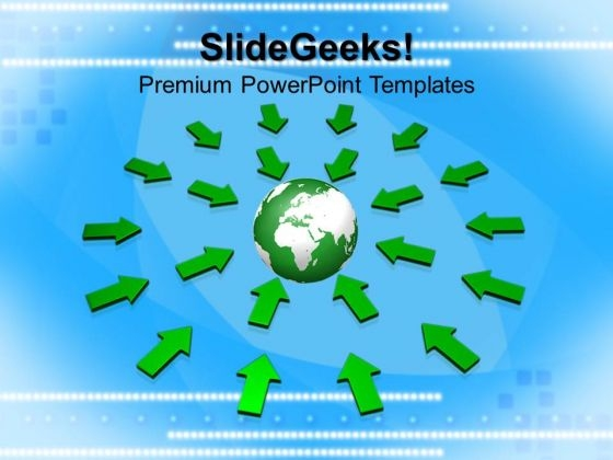 Arrows Pointing To Globe PowerPoint Templates And PowerPoint Themes 1012