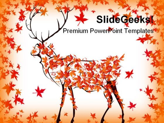 Autumn Deer Nature PowerPoint Backgrounds And Templates 0111