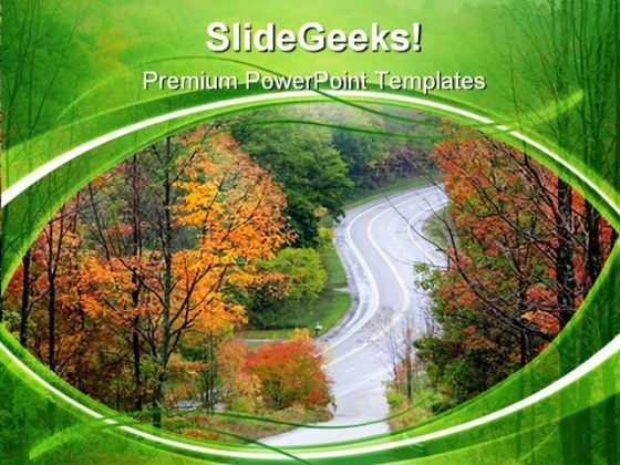 Autumn Drive Nature PowerPoint Templates And PowerPoint Backgrounds 0411